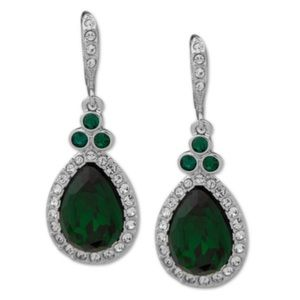 Givenchy Green Pavé Pear Drop Earrings